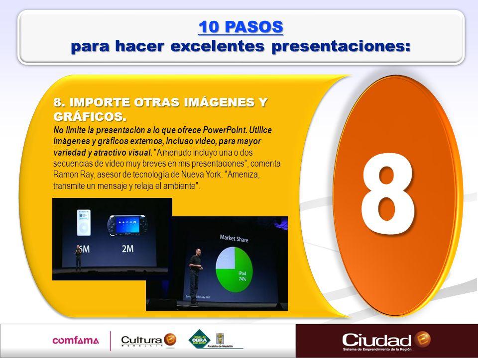 8. IMPORTE OTRAS IMÁGENES Y GRÁFICOS. 8. IMPORTE OTRAS IMÁGENES Y GRÁFICOS. No limite la presentación a lo que ofrece PowerPoint. Utilice imágenes y g