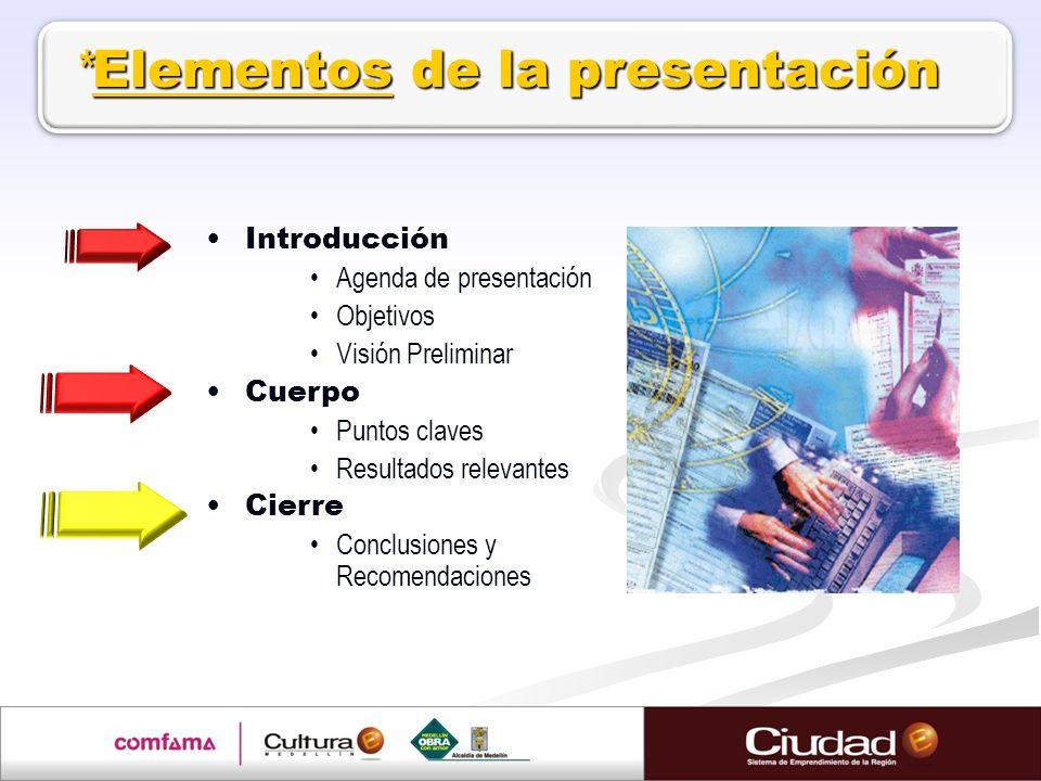 Introducción Agenda de presentación Objetivos Visión Preliminar Cuerpo Puntos claves Resultados relevantes Cierre Conclusiones y Recomendaciones * Ele