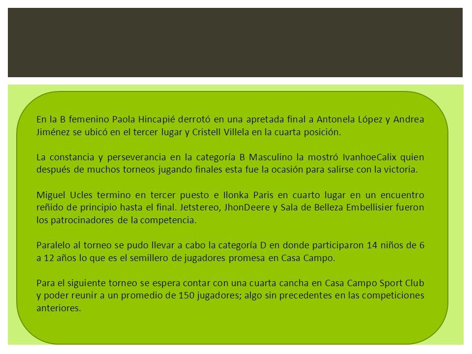En la B femenino Paola Hincapié derrotó en una apretada final a Antonela López y Andrea Jiménez se ubicó en el tercer lugar y Cristell Villela en la c