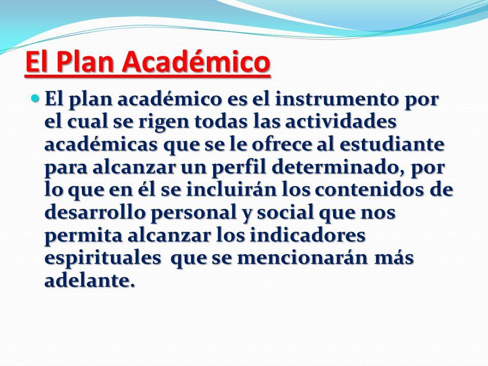 El Plan Académico El plan académico es el instrumento por el cual se rigen todas las actividades académicas que se le ofrece al estudiante para alcanz