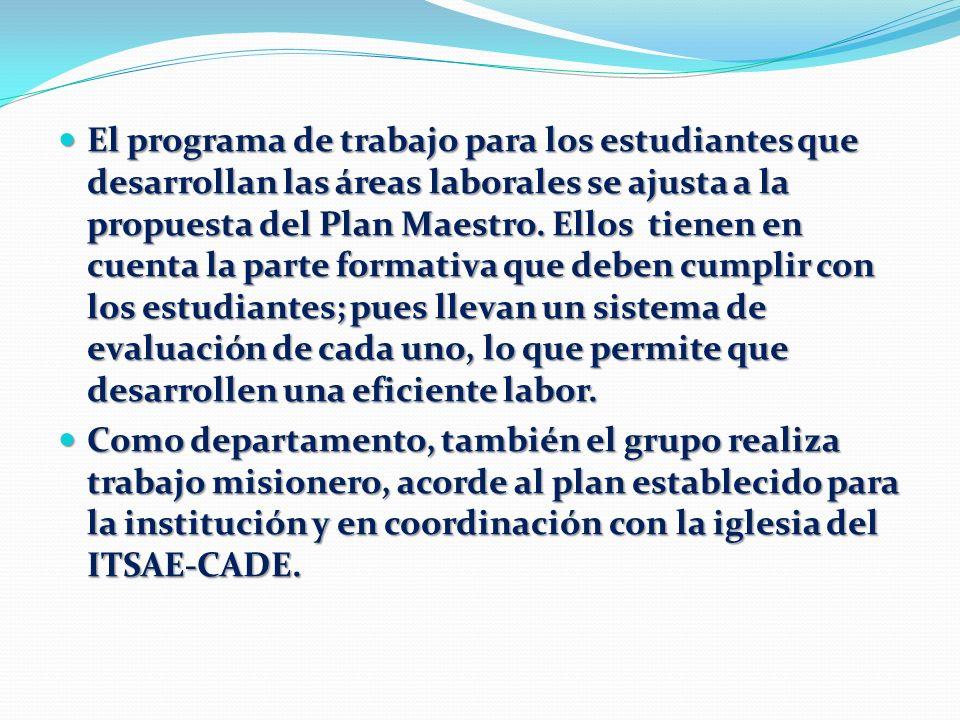 El programa de trabajo para los estudiantes que desarrollan las áreas laborales se ajusta a la propuesta del Plan Maestro. Ellos tienen en cuenta la p