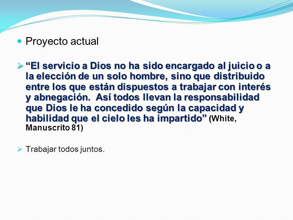 Proyecto actual El servicio a Dios no ha sido encargado al juicio o a la elección de un solo hombre, sino que distribuido entre los que están dispuest