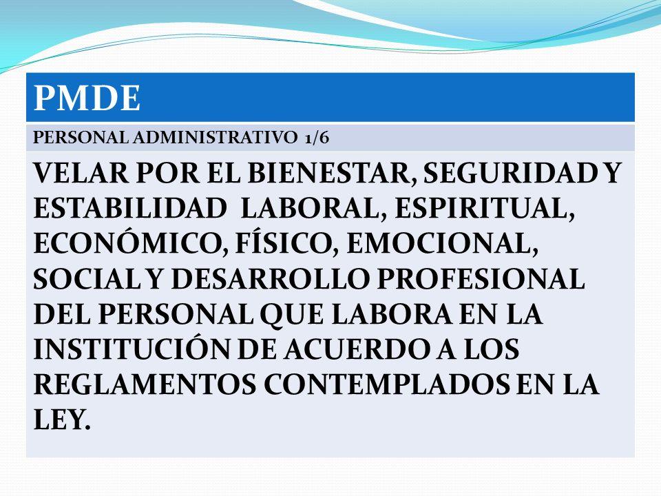 PMDE PERSONAL ADMINISTRATIVO 1/6 VELAR POR EL BIENESTAR, SEGURIDAD Y ESTABILIDAD LABORAL, ESPIRITUAL, ECONÓMICO, FÍSICO, EMOCIONAL, SOCIAL Y DESARROLL