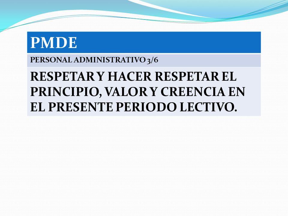 PMDE PERSONAL ADMINISTRATIVO 3/6 RESPETAR Y HACER RESPETAR EL PRINCIPIO, VALOR Y CREENCIA EN EL PRESENTE PERIODO LECTIVO.