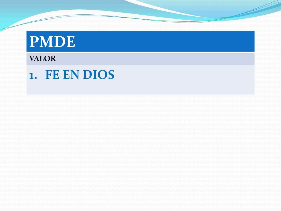 PMDE VALOR 1.FE EN DIOS