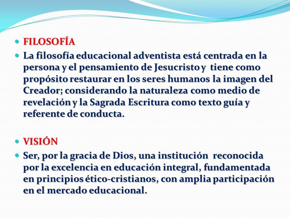 FILOSOFÍA FILOSOFÍA La filosofía educacional adventista está centrada en la persona y el pensamiento de Jesucristo y tiene como propósito restaurar en