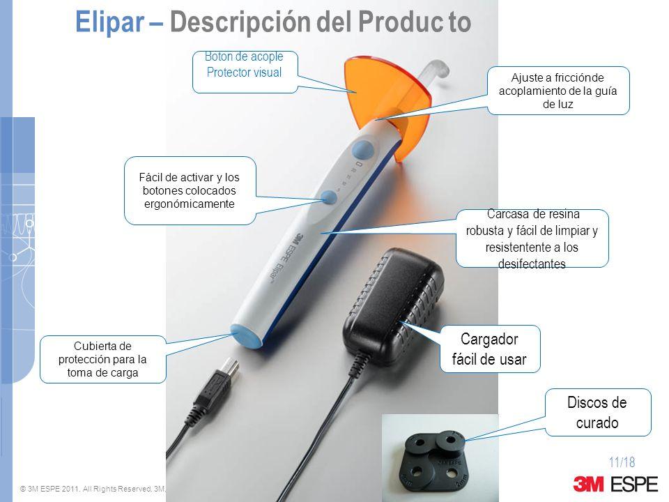 © 3M ESPE 2011. All Rights Reserved. 3M, ESPE and Elipar are trademarks of 3M or 3M ESPE AG. 11/18 Fácil de activar y los botones colocados ergonómica