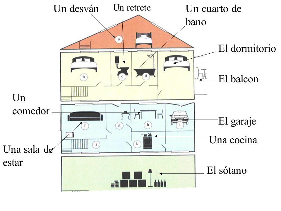 El garaje El balcon El dormitorio El sótano Una cocina Un retrete Un desvánUn cuarto de bano Un comedor Una sala de estar