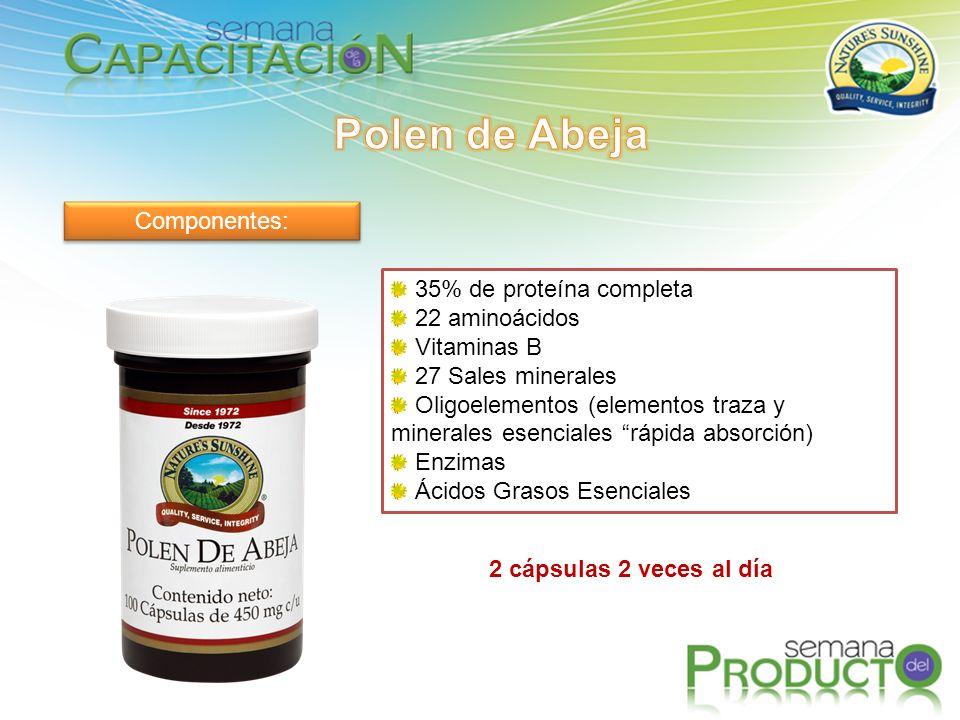 Componentes: 35% de proteína completa 22 aminoácidos Vitaminas B 27 Sales minerales Oligoelementos (elementos traza y minerales esenciales rápida absorción) Enzimas Ácidos Grasos Esenciales 2 cápsulas 2 veces al día
