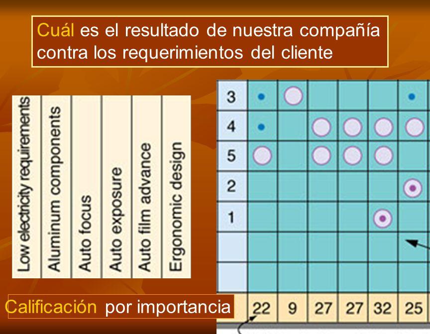 8 Calificación por importancia Cuál es el resultado de nuestra compañía contra los requerimientos del cliente
