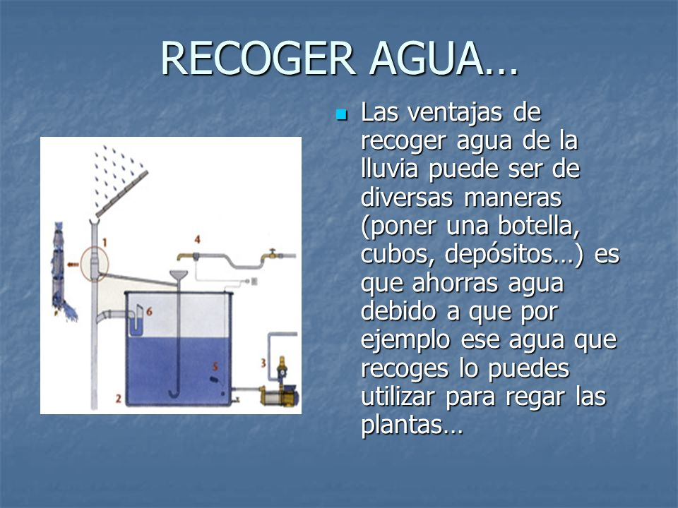 RECOGER AGUA… Las ventajas de recoger agua de la lluvia puede ser de diversas maneras (poner una botella, cubos, depósitos…) es que ahorras agua debid