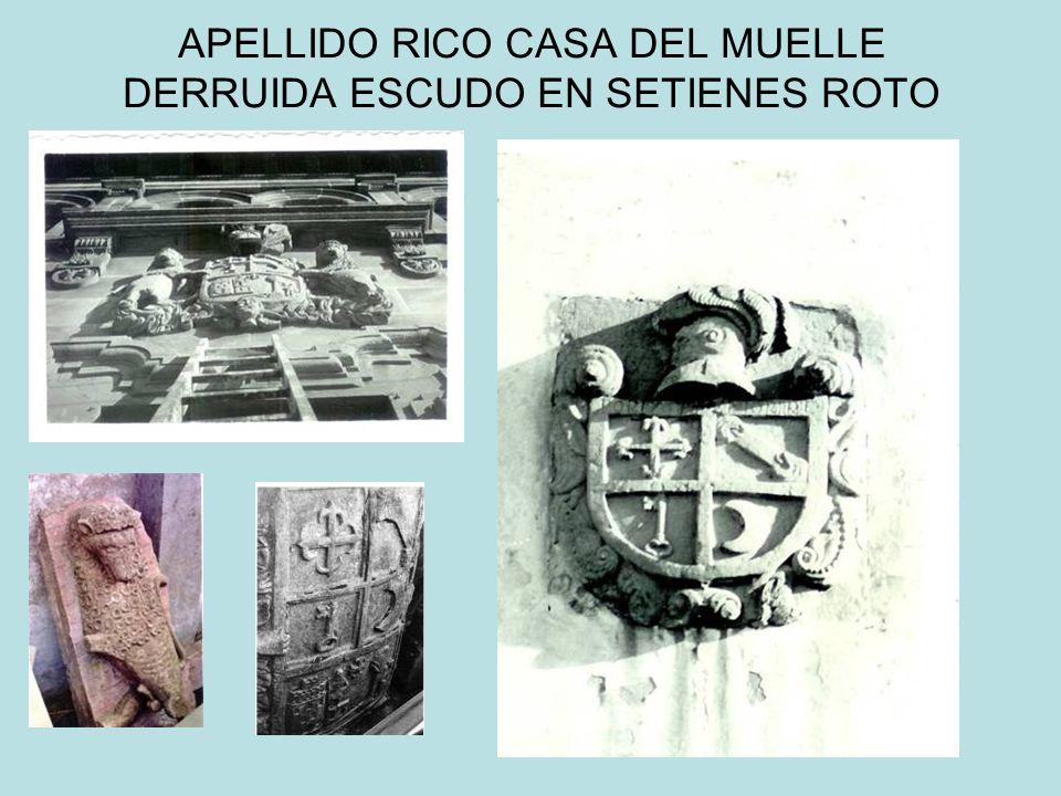 APELLIDO RICO CASA DEL MUELLE DERRUIDA ESCUDO EN SETIENES ROTO