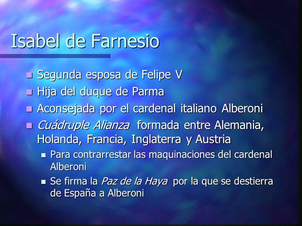 Segunda esposa de Felipe V Segunda esposa de Felipe V Hija del duque de Parma Hija del duque de Parma Aconsejada por el cardenal italiano Alberoni Aco
