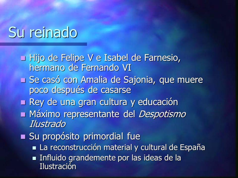 Su reinado Hijo de Felipe V e Isabel de Farnesio, hermano de Fernando VI Hijo de Felipe V e Isabel de Farnesio, hermano de Fernando VI Se casó con Ama