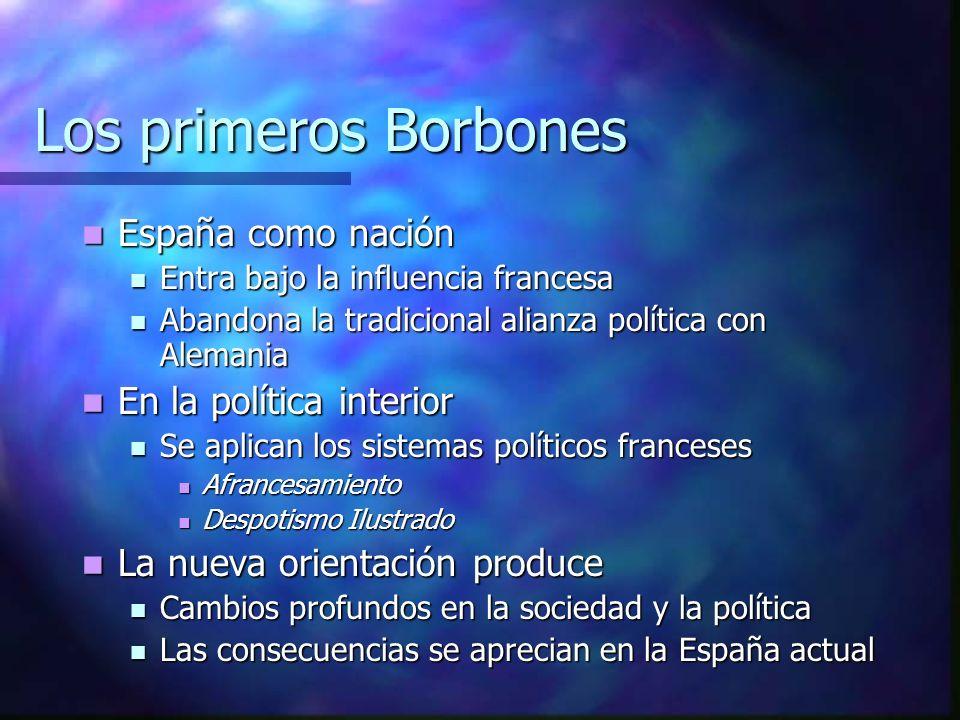 Los primeros Borbones España como nación España como nación Entra bajo la influencia francesa Entra bajo la influencia francesa Abandona la tradiciona