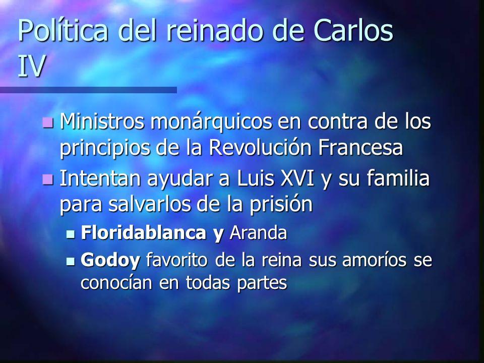 Política del reinado de Carlos IV Ministros monárquicos en contra de los principios de la Revolución Francesa Ministros monárquicos en contra de los p