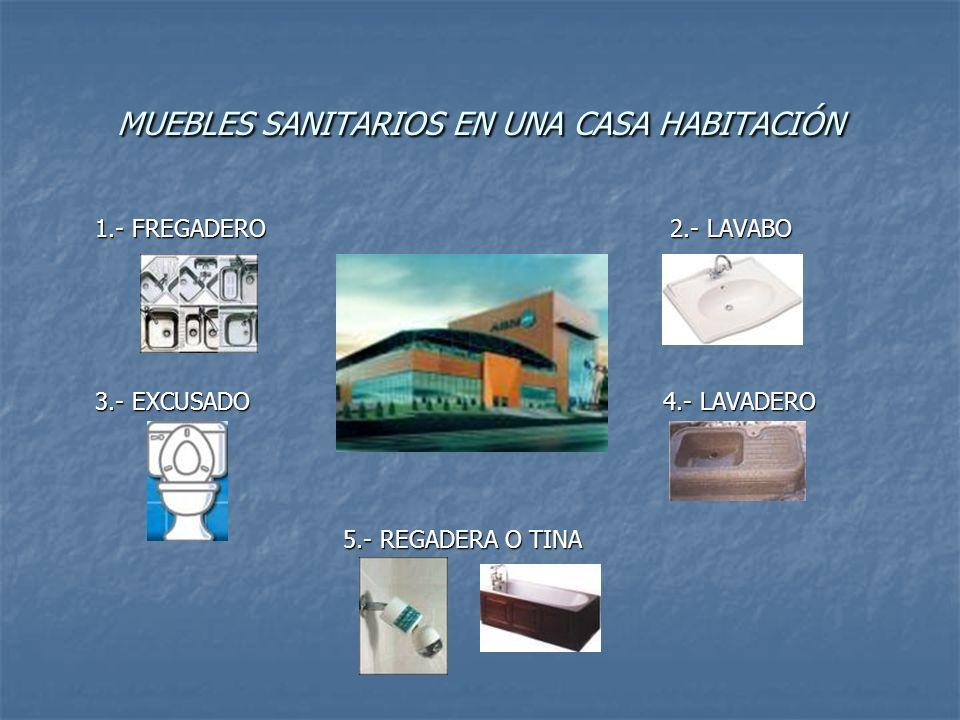 MUEBLES SANITARIOS EN UNA CASA HABITACIÓN 1.- FREGADERO 2.- LAVABO 1.- FREGADERO 2.- LAVABO 3.- EXCUSADO 4.- LAVADERO 3.- EXCUSADO 4.- LAVADERO 5.- RE