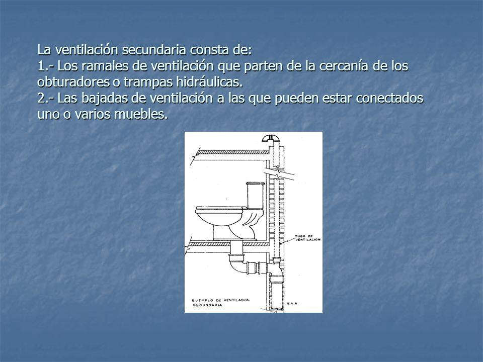 La ventilación secundaria consta de: 1.- Los ramales de ventilación que parten de la cercanía de los obturadores o trampas hidráulicas. 2.- Las bajada