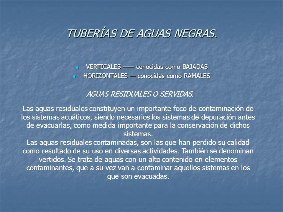 TUBERÍAS DE AGUAS NEGRAS. VERTICALES conocidas como BAJADAS VERTICALES conocidas como BAJADAS HORIZONTALES conocidas como RAMALES HORIZONTALES conocid