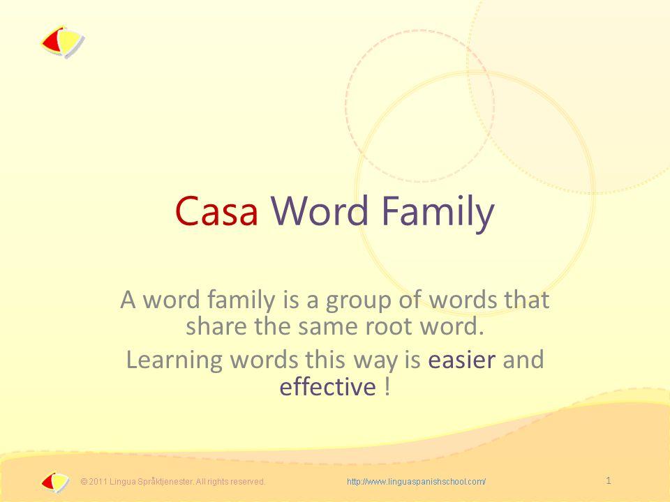 2 Casa Word Family casa = house, home casera = landlady, home-loving (female), homemade,...