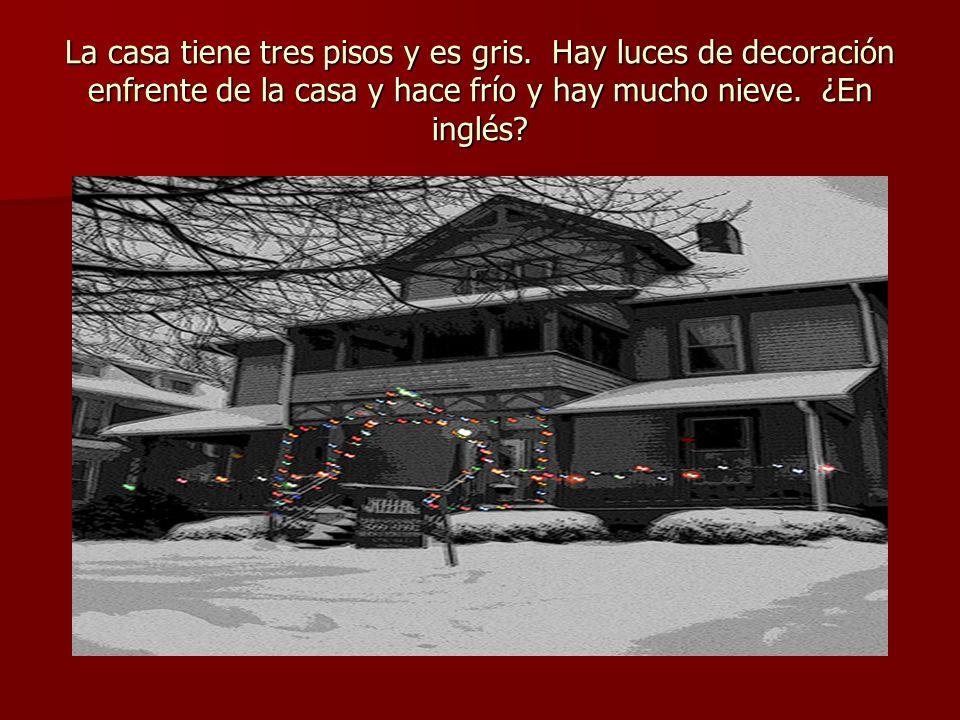 La casa tiene tres pisos y es gris. Hay luces de decoración enfrente de la casa y hace frío y hay mucho nieve. ¿En inglés?