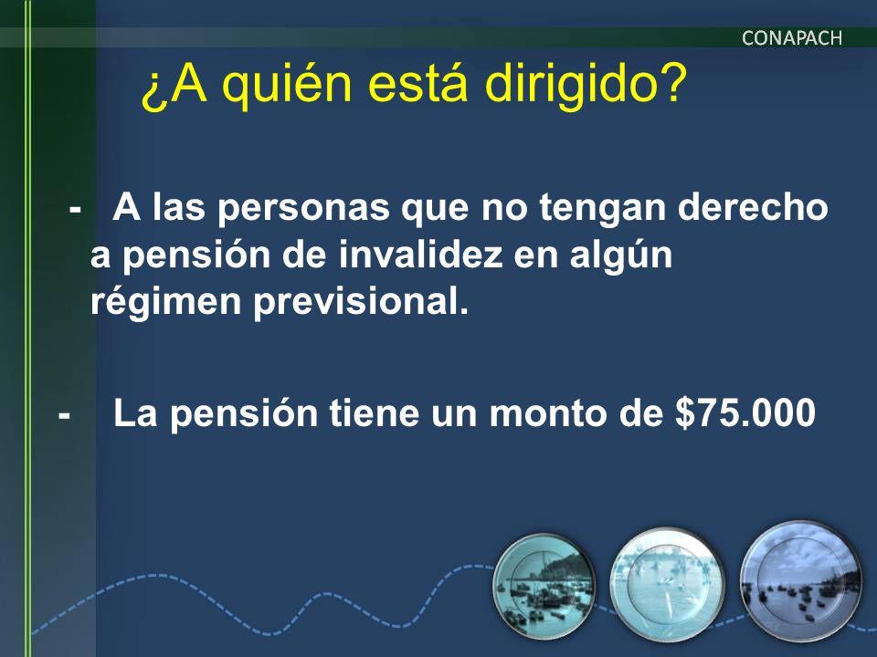 - A las personas que no tengan derecho a pensión de invalidez en algún régimen previsional. - La pensión tiene un monto de $75.000 ¿A quién está dirig
