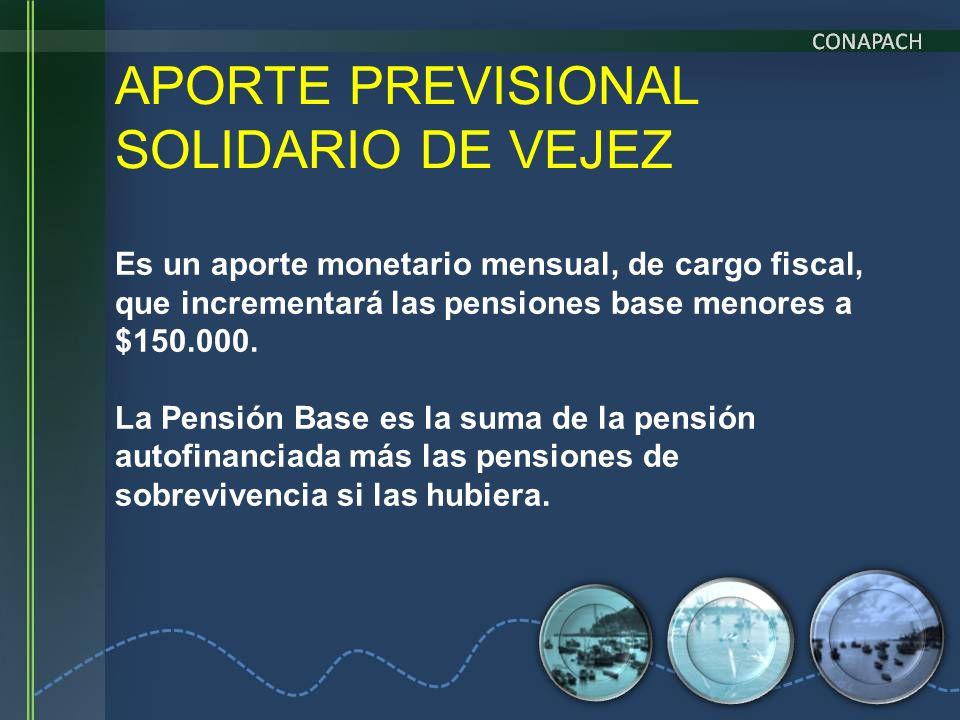 APORTE PREVISIONAL SOLIDARIO DE VEJEZ Es un aporte monetario mensual, de cargo fiscal, que incrementará las pensiones base menores a $150.000. La Pens
