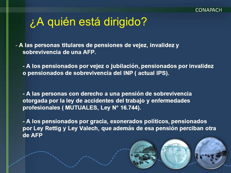 - A las personas titulares de pensiones de vejez, invalidez y sobrevivencia de una AFP. - A los pensionados por vejez o jubilación, pensionados por in