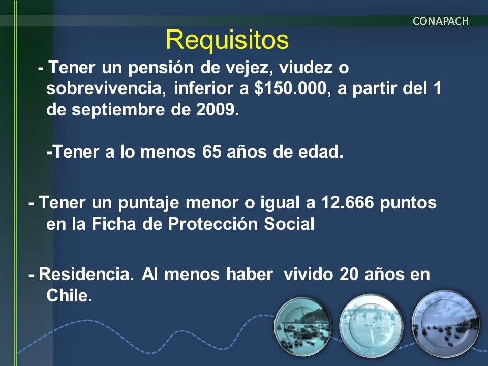 - Tener un pensión de vejez, viudez o sobrevivencia, inferior a $150.000, a partir del 1 de septiembre de 2009. -Tener a lo menos 65 años de edad. - T
