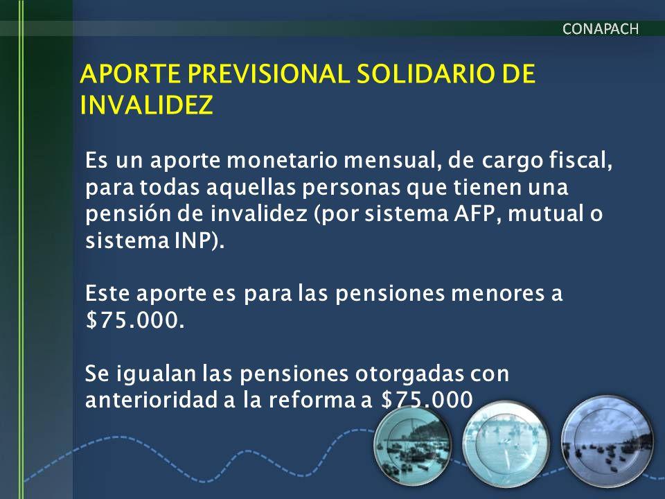 APORTE PREVISIONAL SOLIDARIO DE INVALIDEZ Es un aporte monetario mensual, de cargo fiscal, para todas aquellas personas que tienen una pensión de inva