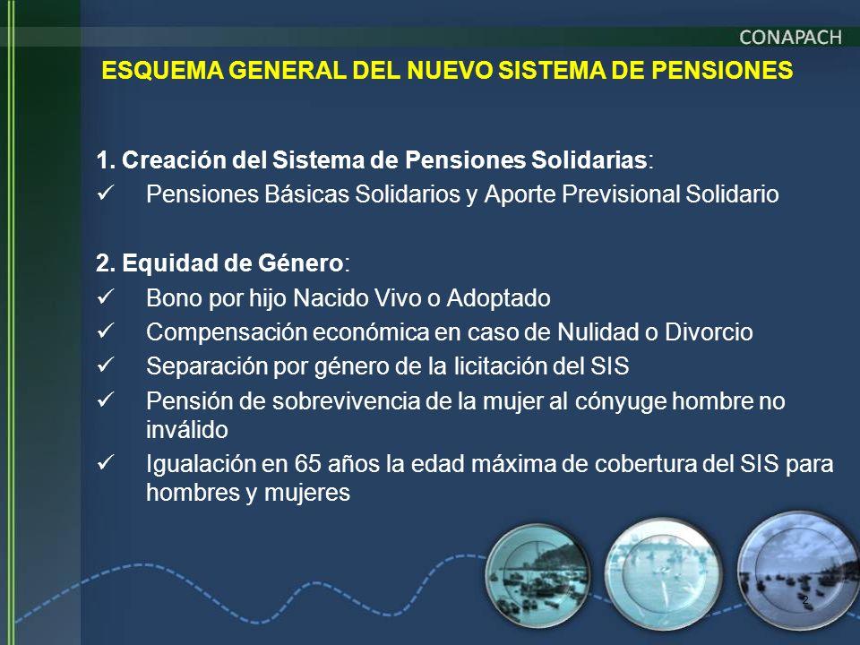 2 ESQUEMA GENERAL DEL NUEVO SISTEMA DE PENSIONES 1. Creación del Sistema de Pensiones Solidarias: Pensiones Básicas Solidarios y Aporte Previsional So