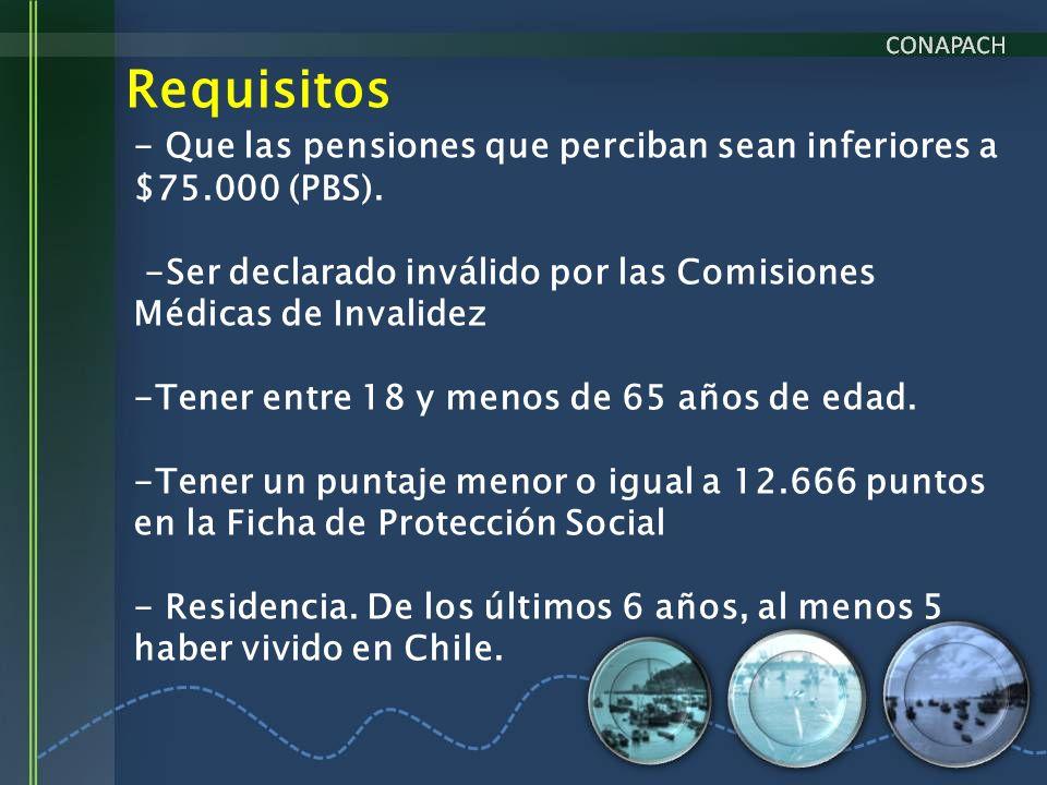 Requisitos - Que las pensiones que perciban sean inferiores a $75.000 (PBS). -Ser declarado inválido por las Comisiones Médicas de Invalidez -Tener en