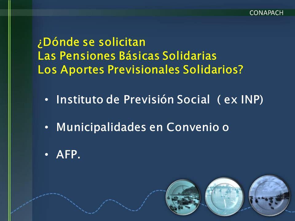 ¿Dónde se solicitan Las Pensiones Básicas Solidarias Los Aportes Previsionales Solidarios? Instituto de Previsión Social ( ex INP) Municipalidades en