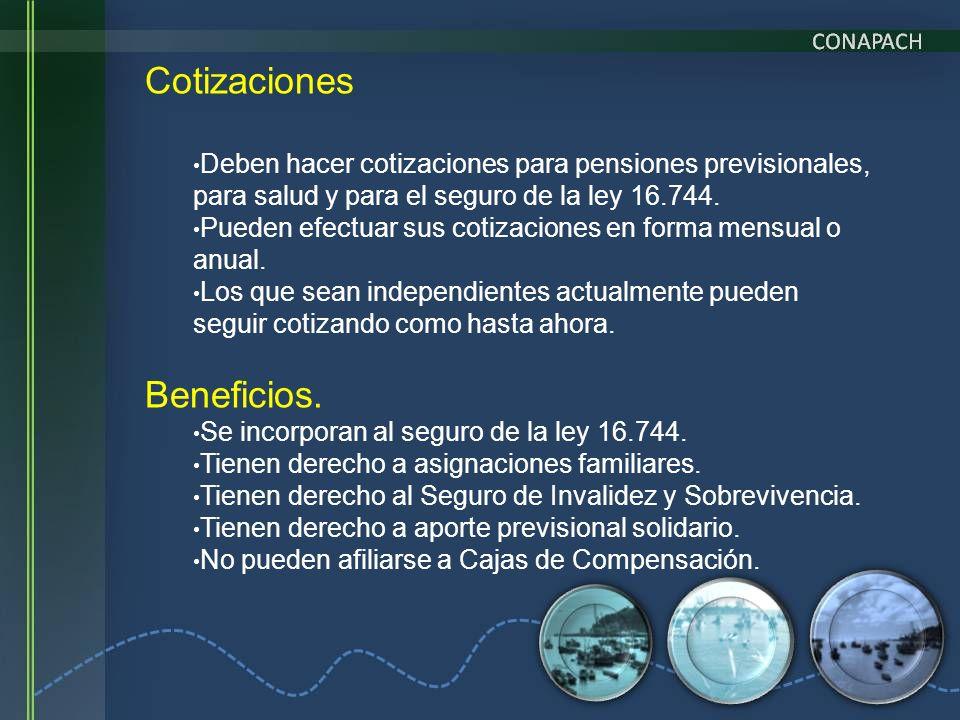 Cotizaciones Deben hacer cotizaciones para pensiones previsionales, para salud y para el seguro de la ley 16.744. Pueden efectuar sus cotizaciones en