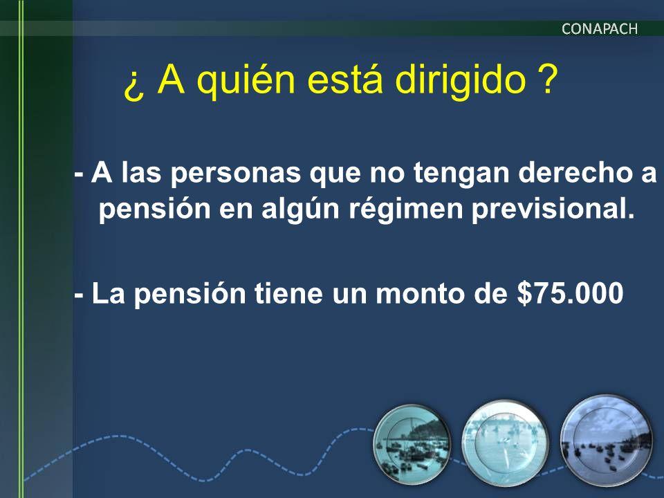 - A las personas que no tengan derecho a pensión en algún régimen previsional. - La pensión tiene un monto de $75.000 ¿ A quién está dirigido ?