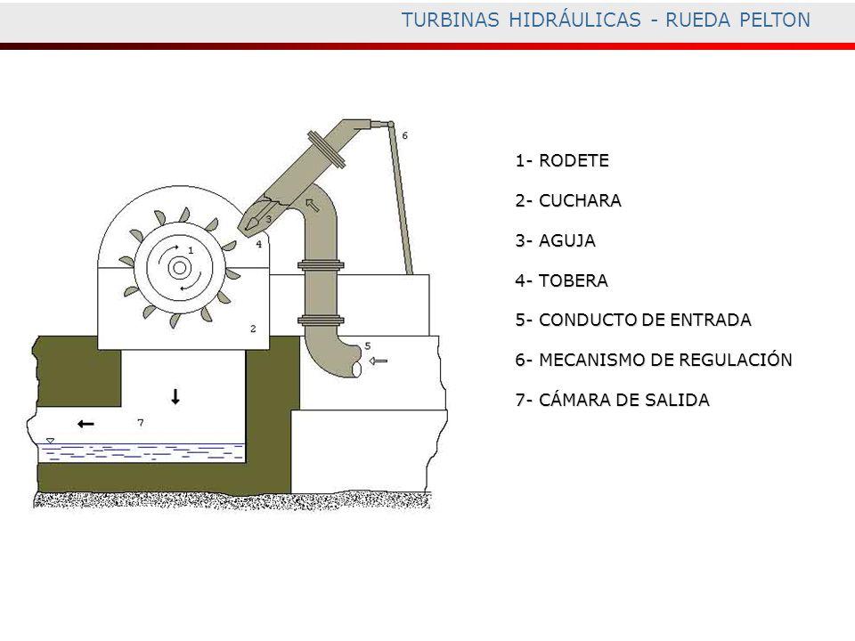 TURBINAS HIDRÁULICAS - RUEDA PELTON 1- RODETE 2- CUCHARA 3- AGUJA 4- TOBERA 5- CONDUCTO DE ENTRADA 6- MECANISMO DE REGULACIÓN 7- CÁMARA DE SALIDA