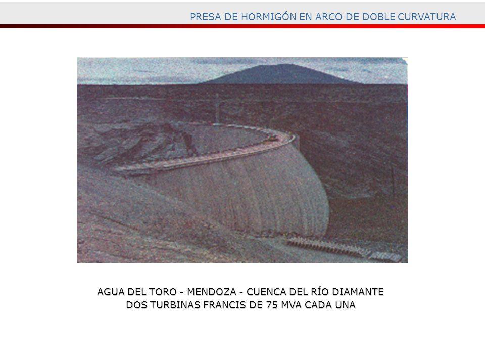 PRESA DE HORMIGÓN EN ARCO DE DOBLE CURVATURA AGUA DEL TORO - MENDOZA - CUENCA DEL RÍO DIAMANTE DOS TURBINAS FRANCIS DE 75 MVA CADA UNA