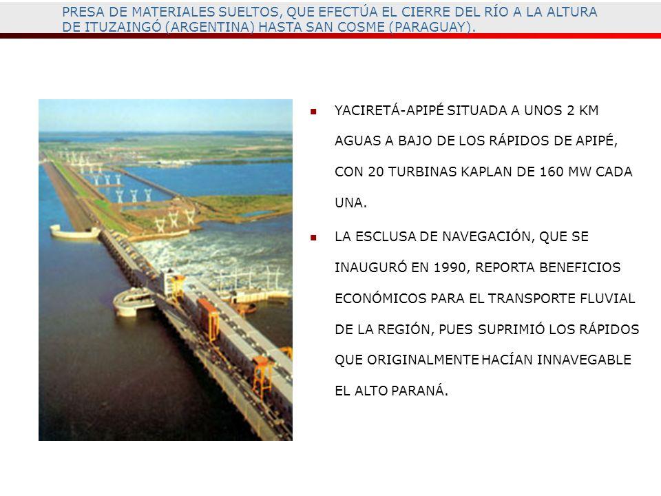 PRESA DE MATERIALES SUELTOS, QUE EFECTÚA EL CIERRE DEL RÍO A LA ALTURA DE ITUZAINGÓ (ARGENTINA) HASTA SAN COSME (PARAGUAY). YACIRETÁ-APIPÉ SITUADA A U