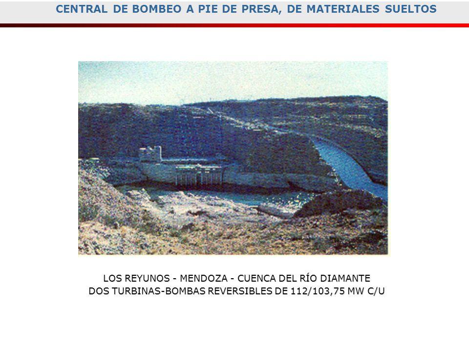 CENTRAL DE BOMBEO A PIE DE PRESA, DE MATERIALES SUELTOS LOS REYUNOS - MENDOZA - CUENCA DEL RÍO DIAMANTE DOS TURBINAS-BOMBAS REVERSIBLES DE 112/103,75