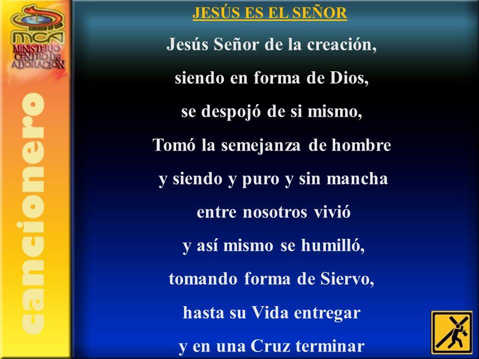 JESÚS ES EL SEÑOR Jesús Señor de la creación, siendo en forma de Dios, se despojó de si mismo, Tomó la semejanza de hombre y siendo y puro y sin manch
