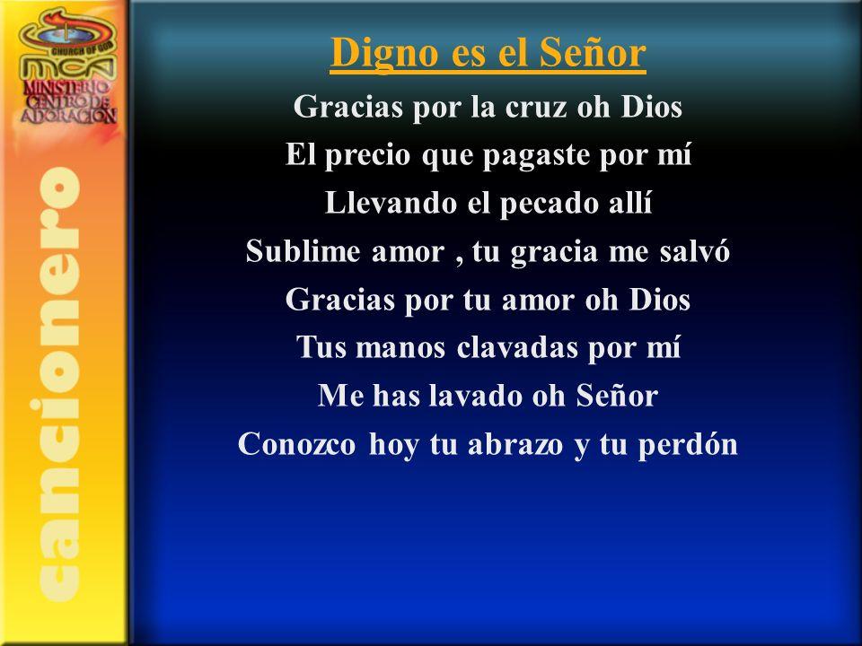 Digno es el Señor Gracias por la cruz oh Dios El precio que pagaste por mí Llevando el pecado allí Sublime amor, tu gracia me salvó Gracias por tu amo
