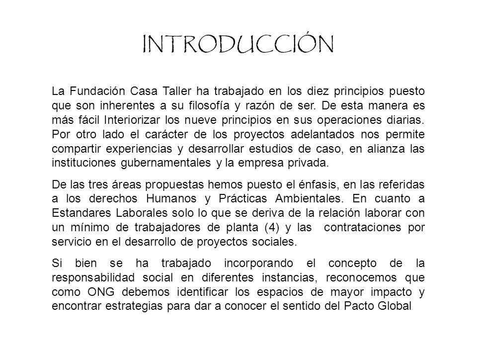 FICHA TECNICA Nombre Fundación Casa Taller Fecha de iniciaciónDiseño y ejecución de proyectos en alianza con otras ONG desde Julio de 2000.