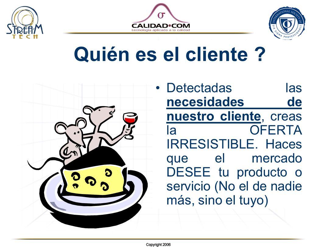 Quién es el cliente ? Detectadas las necesidades de nuestro cliente, creas la OFERTA IRRESISTIBLE. Haces que el mercado DESEE tu producto o servicio (