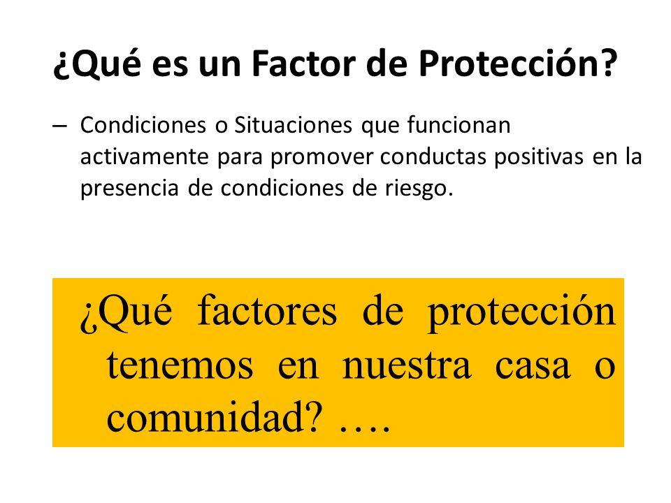 ¿Qué es un Factor de Protección? – Condiciones o Situaciones que funcionan activamente para promover conductas positivas en la presencia de condicione