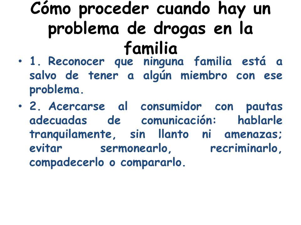 Cómo proceder cuando hay un problema de drogas en la familia 1.Reconocer que ninguna familia está a salvo de tener a algún miembro con ese problema. 2