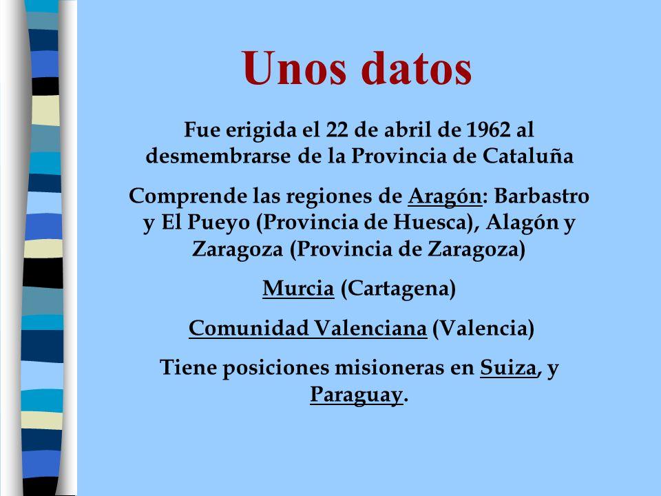Personas Con fecha 1 de mayo de 2006, la Provincia cuenta con 78 profesos distribuidos: 2 Obispos 61 sacerdotes 13 hermanos 2 estudiantes La media de edad es de 64,10 años