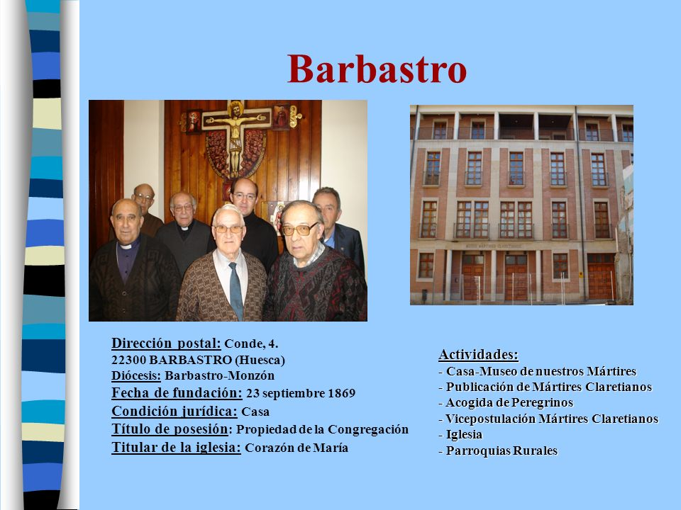 Cartagena Dirección postal: Sagasta 33.