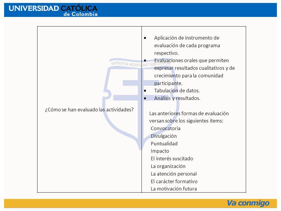 ¿Cómo se han evaluado las actividades? Aplicación de instrumento de evaluación de cada programa respectivo. Evaluaciones orales que permiten expresar