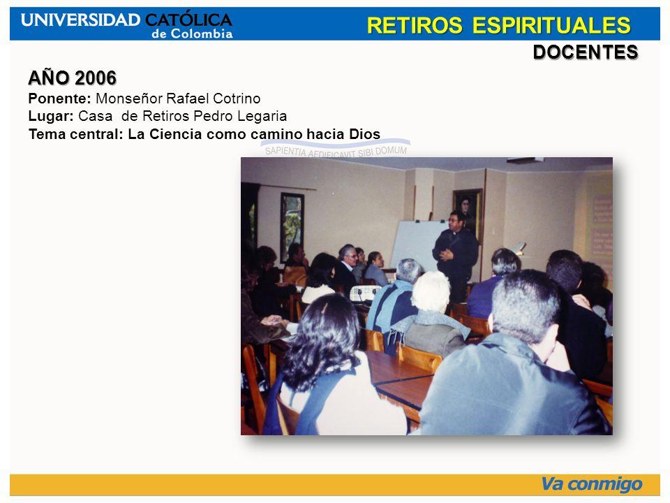 RETIROS ESPIRITUALES DOCENTES AÑO 2006 Ponente: Monseñor Rafael Cotrino Lugar: Casa de Retiros Pedro Legaria Tema central: La Ciencia como camino haci