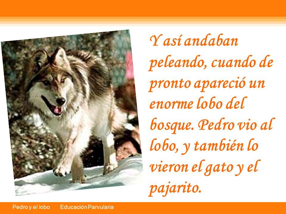 Pedro y el lobo Educación Parvularia Y así andaban peleando, cuando de pronto apareció un enorme lobo del bosque. Pedro vio al lobo, y también lo vier